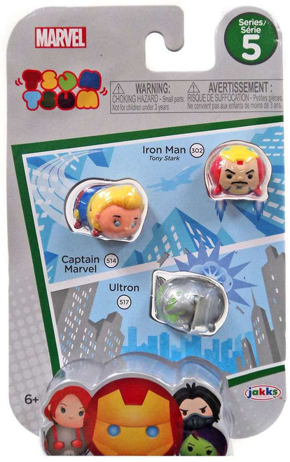 Tsum Tsum Series 5 Iron Man, Captain Marvel & Ultron 1-Inch Minifigure 3-Pack #302, 514 & 517