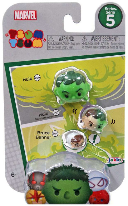 Marvel Tsum Tsum Series 5 Hulk, Hulk (Transformation) & Bruce Banner 1-Inch Minifigure 3-Pack #209, 502 & 504