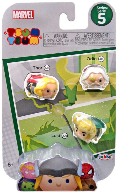 Marvel Tsum Tsum Series 5 Thor, Odin & Loki 1-Inch Minifigure 3-Pack #511, 414 & 220