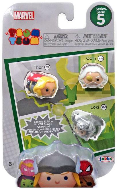 Marvel Tsum Tsum Series 5 Thor, Odin & Loki (Silver Blast) 1-Inch Minifigure 3-Pack #511, 414 & 220