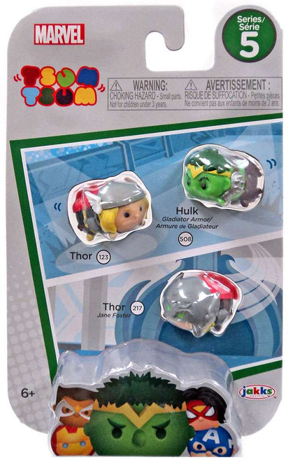 Marvel Tsum Tsum Series 5 Thor, Gladiator Hulk & Thor (Jane Foster) 1-Inch Minifigure 3-Pack #123, 508 & 217