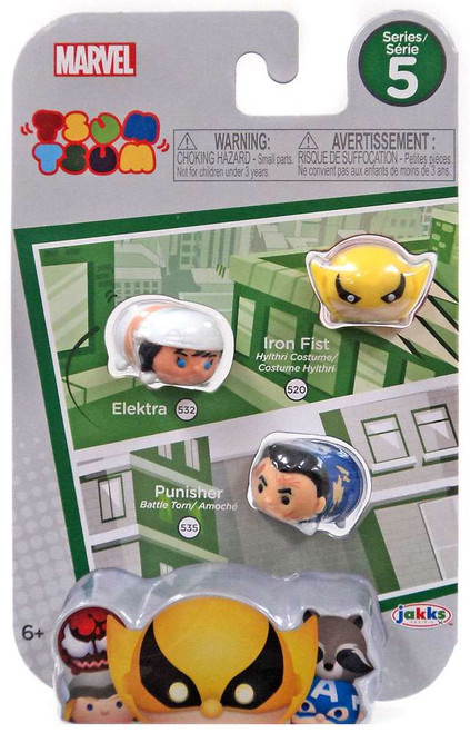 Marvel Tsum Tsum Series 5 Iron Fist, Electra & Punisher 1-Inch Minifigure 3-Pack #520, 532 & 535
