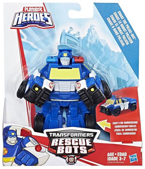 Transformers Playskool Heroes Rescue Bots Chase the Police Bot Action Figure [2017]