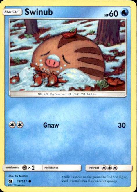 Pokemon Sun & Moon Crimson Invasion Common Swinub #19