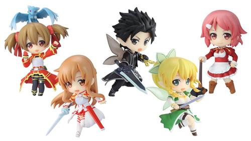 Sword Art Online Niitendgo DX Kirito, Asuna, Leafa, Silica & Lisbeth 3-Inch Set of 6 PVC Figures
