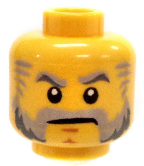 Yellow Male with Gray Sideburns and Stern Look Minifigure Head [Loose]