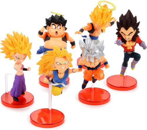 Dragon Ball WCF Saiyans Bravery Vol. 2 SS Gogeta, SS4 Vegeta, SS3 Goku, SS2 Caulifla & Son Goku & Ultra Instinct Son Goku 3-Inch Set of 6 Collectible PVC Figures