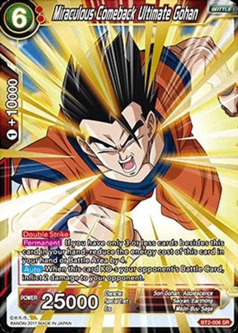 Dragon Ball Super Collectible Card Game Union Force Super Rare Miraculous Comeback Ultimate Gohan BT2-006