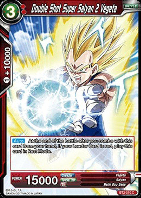 Dragon Ball Super Collectible Card Game Union Force Common Double Shot Super Saiyan 2 Vegeta BT2-010