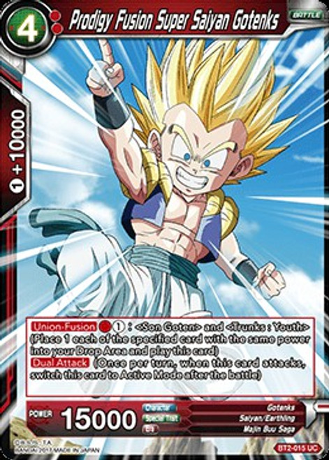 Dragon Ball Super Collectible Card Game Union Force Uncommon Prodigy Fusion Super Saiyan Gotenks BT2-015