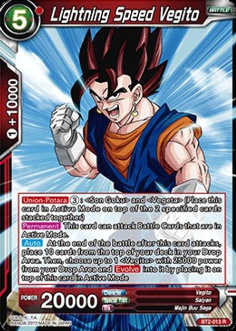Dragon Ball Super Collectible Card Game Union Force Rare Lightning Speed Vegito BT2-013