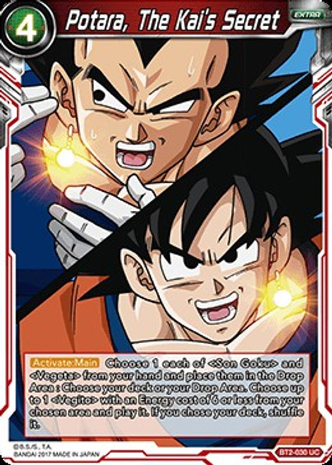 Dragon Ball Super Collectible Card Game Union Force Uncommon Potara, The Kai's Secret BT2-030