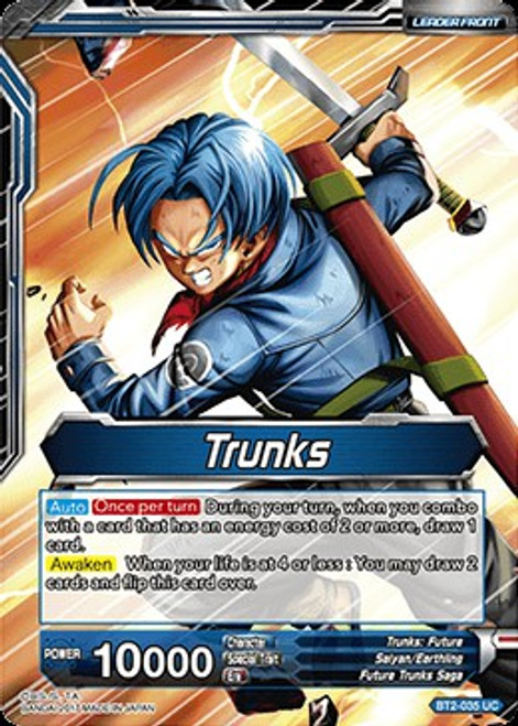 Dragon Ball Super Collectible Card Game Union Force Uncommon Trunks / Trunks, Hope for the Future BT2-035