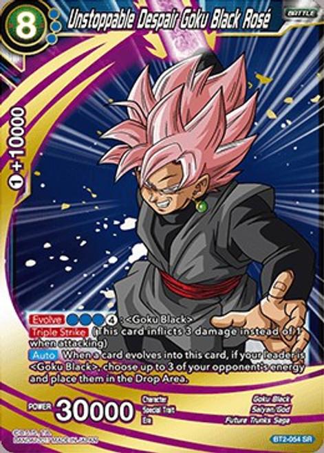 Dragon Ball Super Trading Card Game Union Force Super Rare Unstoppable Despair Goku Black Rose BT2-054