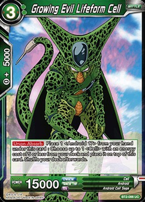 Dragon Ball Super Trading Card Game Union Force Uncommon Growing Evil Lifeform Cell BT2-086