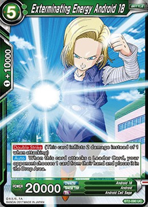Dragon Ball Super Collectible Card Game Union Force Uncommon Exterminating Energy Android 18 BT2-090
