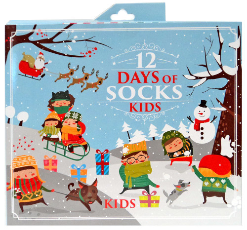 Boys 12 Days of Socks Kids 12-Pack [Sock Size 9-11 Fits Shoe Size 4-10]