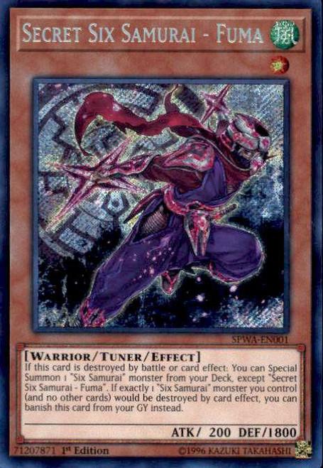 YuGiOh Spirit Warriors Secret Rare Secret Six Samurai - Fuma SPWA-EN001