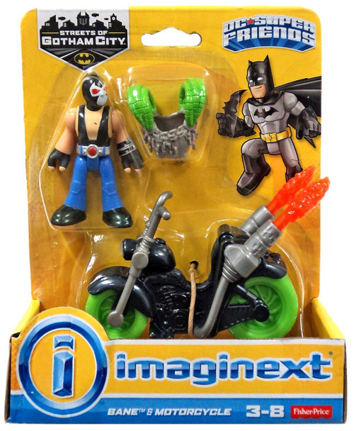 Fisher Price DC Super Friends Imaginext Gotham City Bane & Motorcycle 3-Inch Figure Set