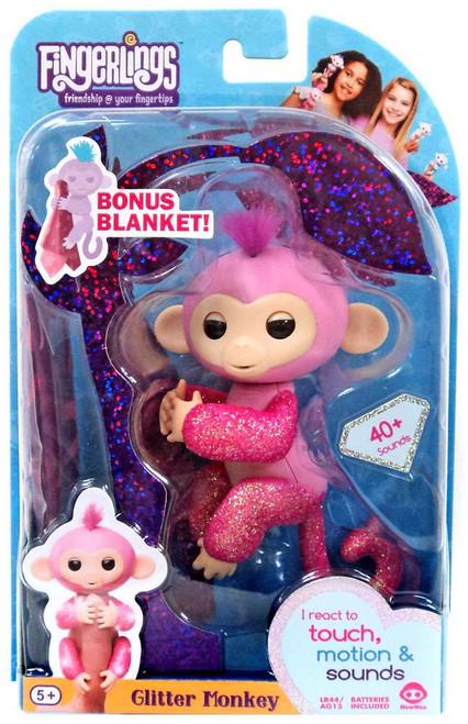 Fingerlings Glitter Monkey Rose Exclusive Figure [Bonus Blanket]