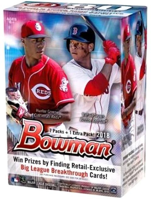 MLB Topps 2018 Bowman Baseball Trading Card BLASTER Box [7 Packs + 1 Extra Pack!]