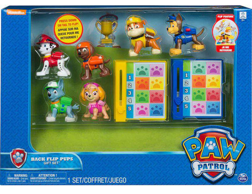 Paw Patrol Back Flip Pups Chase, Zuma, Rubble, Skye, Rocky & Marshall Exclusive Gift Set Figure 6-Pack
