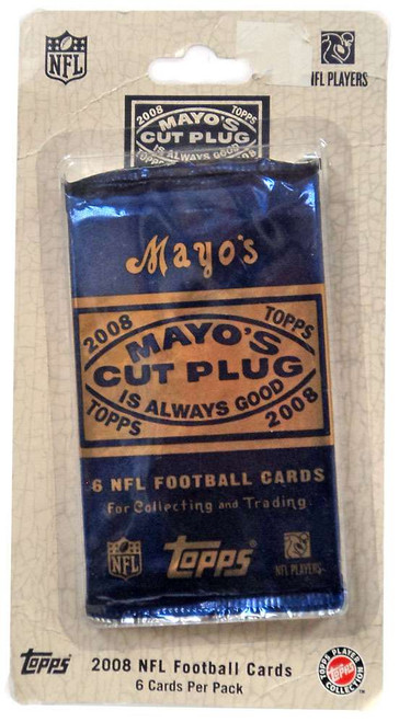 NFL Topps 2008 Mayo's Cut Plug Football Trading Card BLISTER Pack [6 Cards]