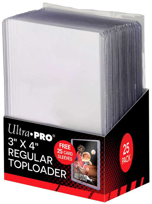 """Ultra Pro Card Supplies 3"""" X 4"""" Regular Toploader with Sleeves Card Holders [25 Count]"""