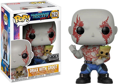 Funko Guardians of the Galaxy Vol. 2 POP! Marvel Drax with Groot Exclusive Vinyl Bobble Head