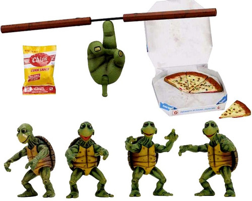 NECA Teenage Mutant Ninja Turtles Quarter Scale Baby Turtles Action Figure 4-Pack Accessory Set [1990 Movie]