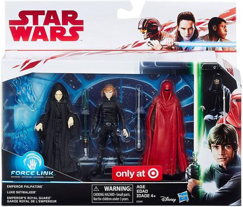 Star Wars The Last Jedi Force Link Emperor Palpatine, Luke Skywalker & Emperor's Royal Guard Exclusive Action Figure 3-Pack