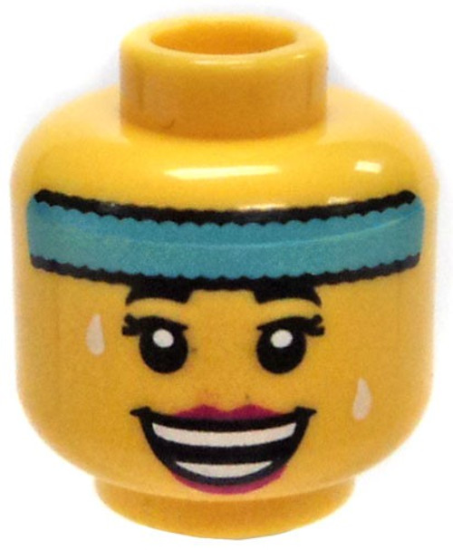 Yellow Female Head with Light Blue Sweatband and Big Smile Minifigure Head [Loose]