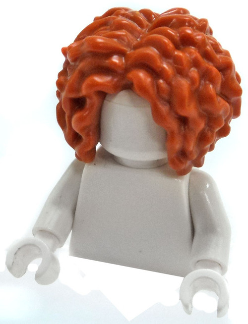 LEGO Dark Orange Very Curly Hair, Parted in the Middle Loose Hair [Loose]