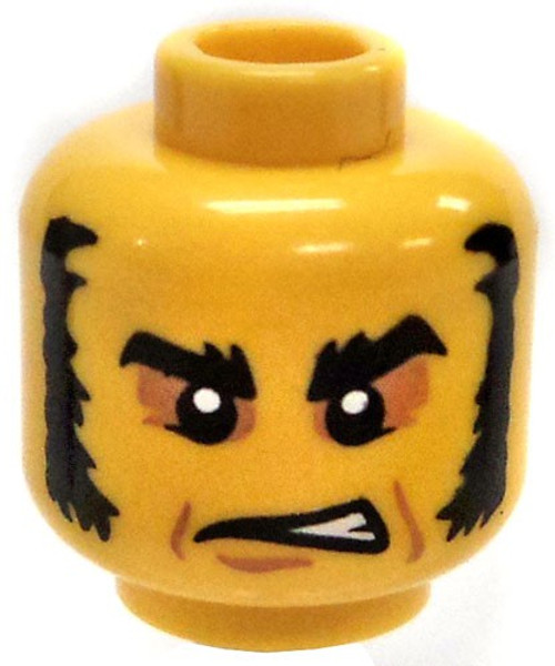 Yellow Head with Thick Black Mutton Chops and Sunken in eyes Minifigure Head [Loose]