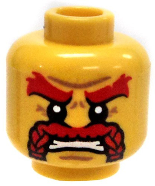 Yellow Male with Thick Red Mustache and red eyebrows Minifigure Head [Loose]