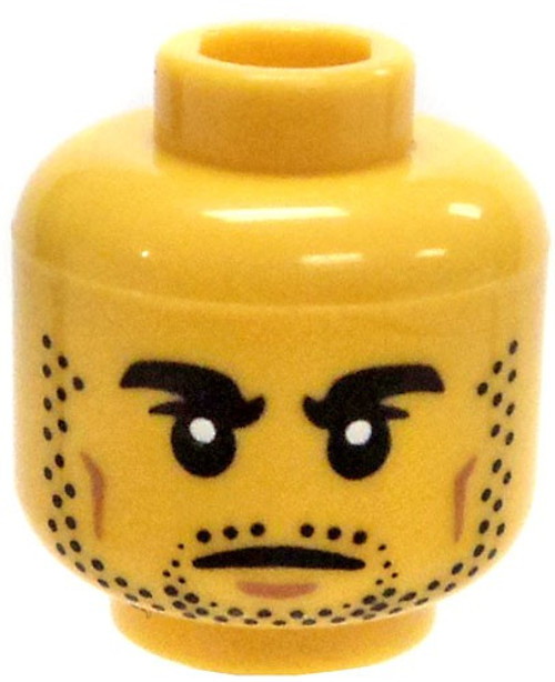 Yellow Male with Thick Eyebrows and Stubble Minifigure Head [Loose]