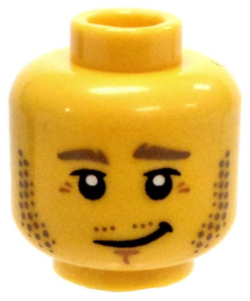 Yellow Male with Stubble and Crooked Grin Minifigure Head [Loose]
