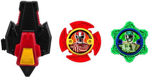Power Rangers Ninja Steel Power Up Green & Red Ninja Power Star 2-Pack with Launcher