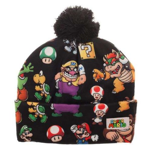 Super Mario Cuff Knit With Pom Beanie