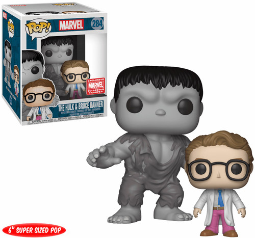 Funko Thor: Ragnarok POP! Marvel The Hulk (Grey) & Bruce Banner Exclusive 6-Inch Vinyl Bobble Head #284 [Super Sized]