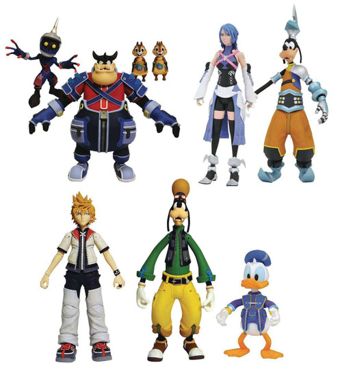 Disney Kingdom Hearts Series 2 Pete, Chip 'n Dale, Soldier, Aqua, Goofy (BBS), Roxas, Donald Duck & Goofy Action Figure Set