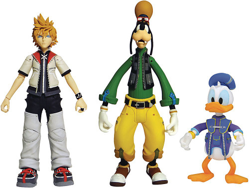Disney Kingdom Hearts Series 2 Roxas, Donald Duck & Goofy Action Figure 3-Pack