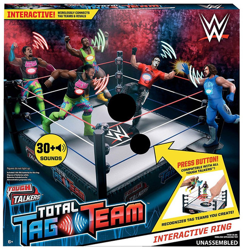 WWE Wrestling Tough Talkers Total Tag Team 6-Inch Interactive Ring