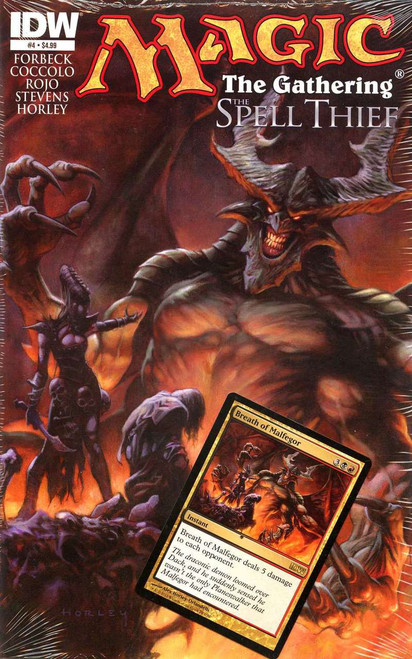 Magic The Gathering #4 The Spell Thief Comic Book [Sealed with Breath of Malfegor Promo Card]