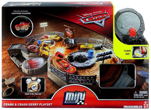 Disney / Pixar Cars Cars Mini Racers Crank & Crash Derby Playset / Carry Case