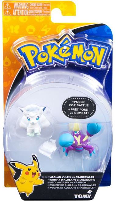 Pokemon Battle Action Alolan Vulpix VS Crabrawler Action Figure