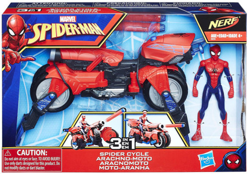 Marvel Spider-Man Homecoming Nerf 3-in-1 Spider Cycle Action Figure & Vehicle