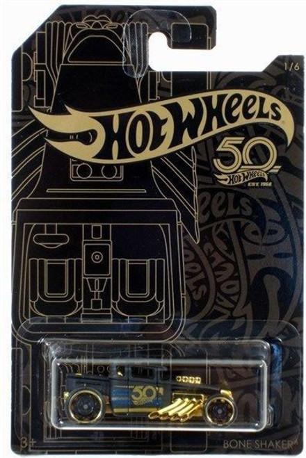 Hot Wheels 50th Anniversary Black & Gold Bone Shaker Diecast Car