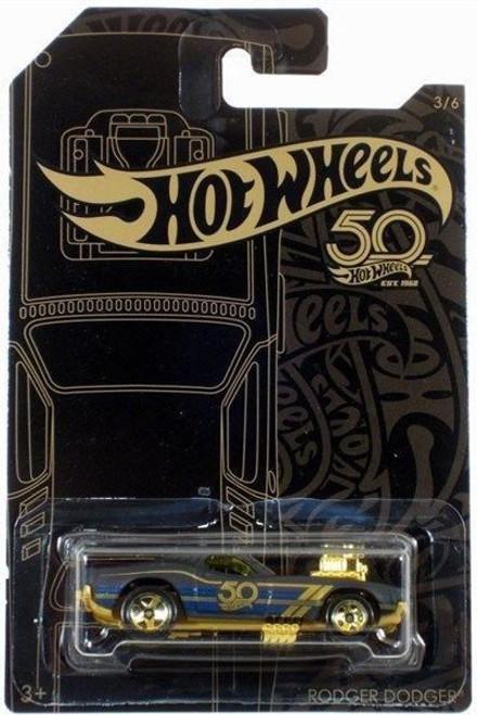 Hot Wheels 50th Anniversary Black & Gold Rodger Dodger Diecast Car