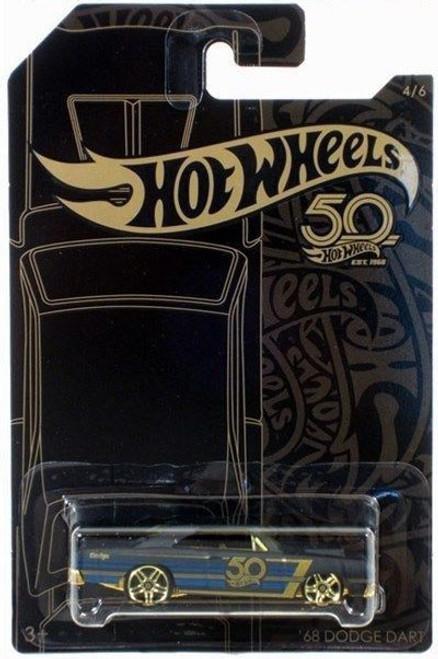 Hot Wheels 50th Anniversary Black & Gold '68 Dodge Dart Diecast Car